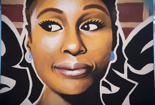 Detail of a painting of Issa Rae by Willingboro artist Kenneth Moertl, known as Blazin Asian, is on display as part of an art exhibit at the Kennedy Center in Willingboro.