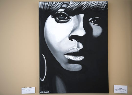 A painting of Mary J. Blige by Willingboro artist Kenneth Moertl, known as Blazin Asian, is on display as part of an art exhibit at the Kennedy Center in Willingboro.