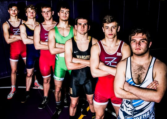 Some of the best wrestlers that Ross County has to offer include (L-R) Zane Trace's Alex Brown, Unioto's Ashten Moody, Zane Trace's Austin Carroll, Huntington's Cody Thomas, Paint Valley's Adrian Salomone, Zane Trace's Jordan Hoselton, and Adena's Dalton Metzger. All seven wrestlers reached career highs of 100 wins, the equivalent to one thousand points in basketball, during their high school careers.