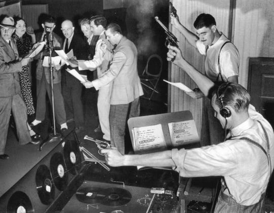 Old-time radio broadcasts were highly choreographed and featured sound effects as an important part of the performance.