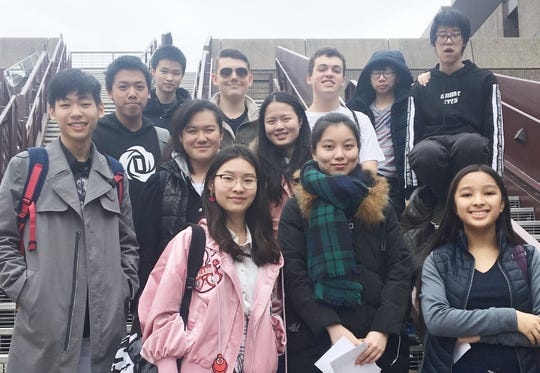 Members of The Summit Country Day School Math Club gather at the University of Cincinnati (UC) on the day of the UC Math Bowl.