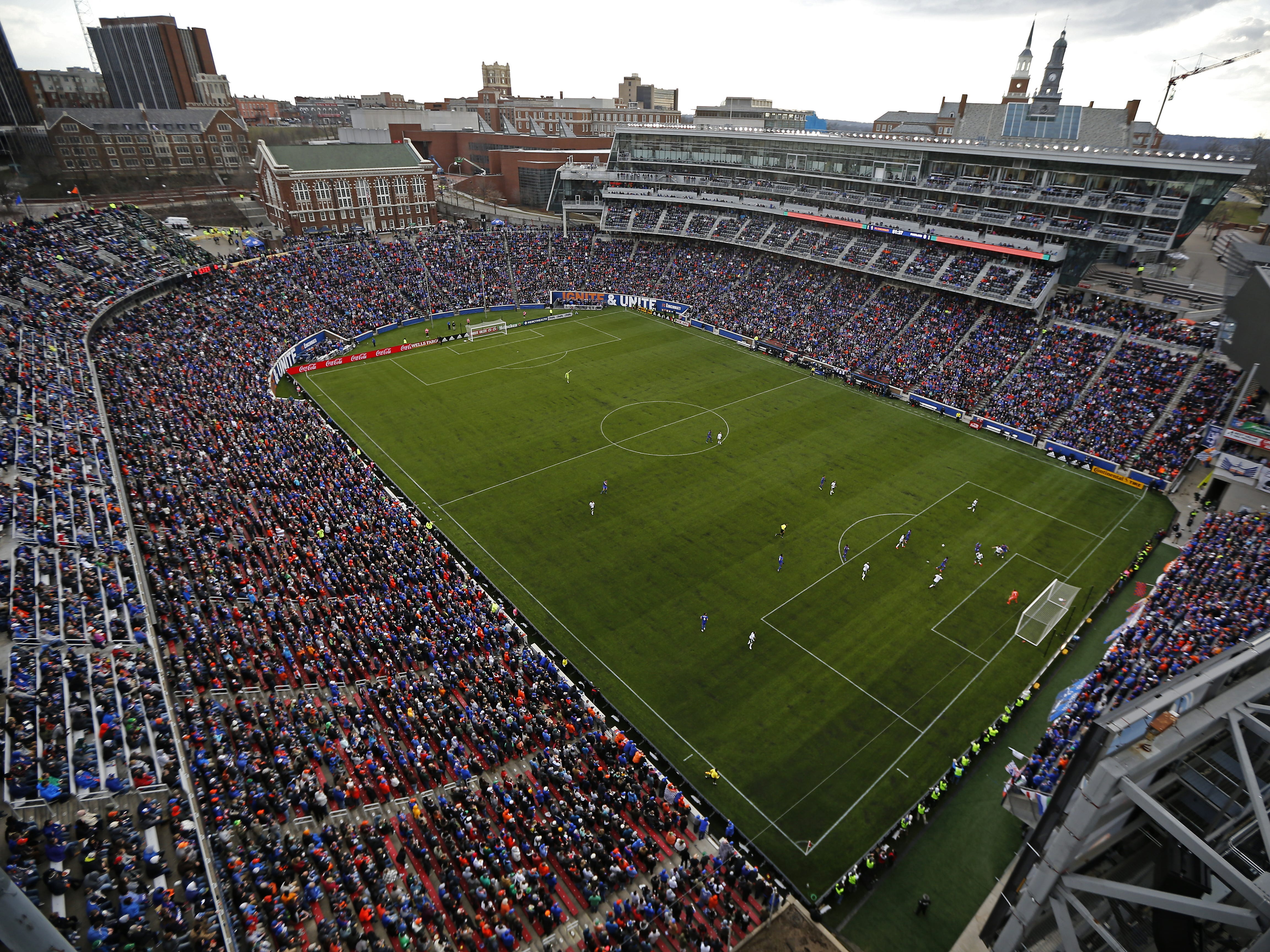 FC Cincinnati takes the ball downfield before a sellout crowd in the second half of the MLS match between FC Cincinnati and the Portland Timbers at Nippert Stadium in Cincinnati on Sunday, March 17, 2019. FC Cincinnati won its first home game as an MLS team, 3-0.