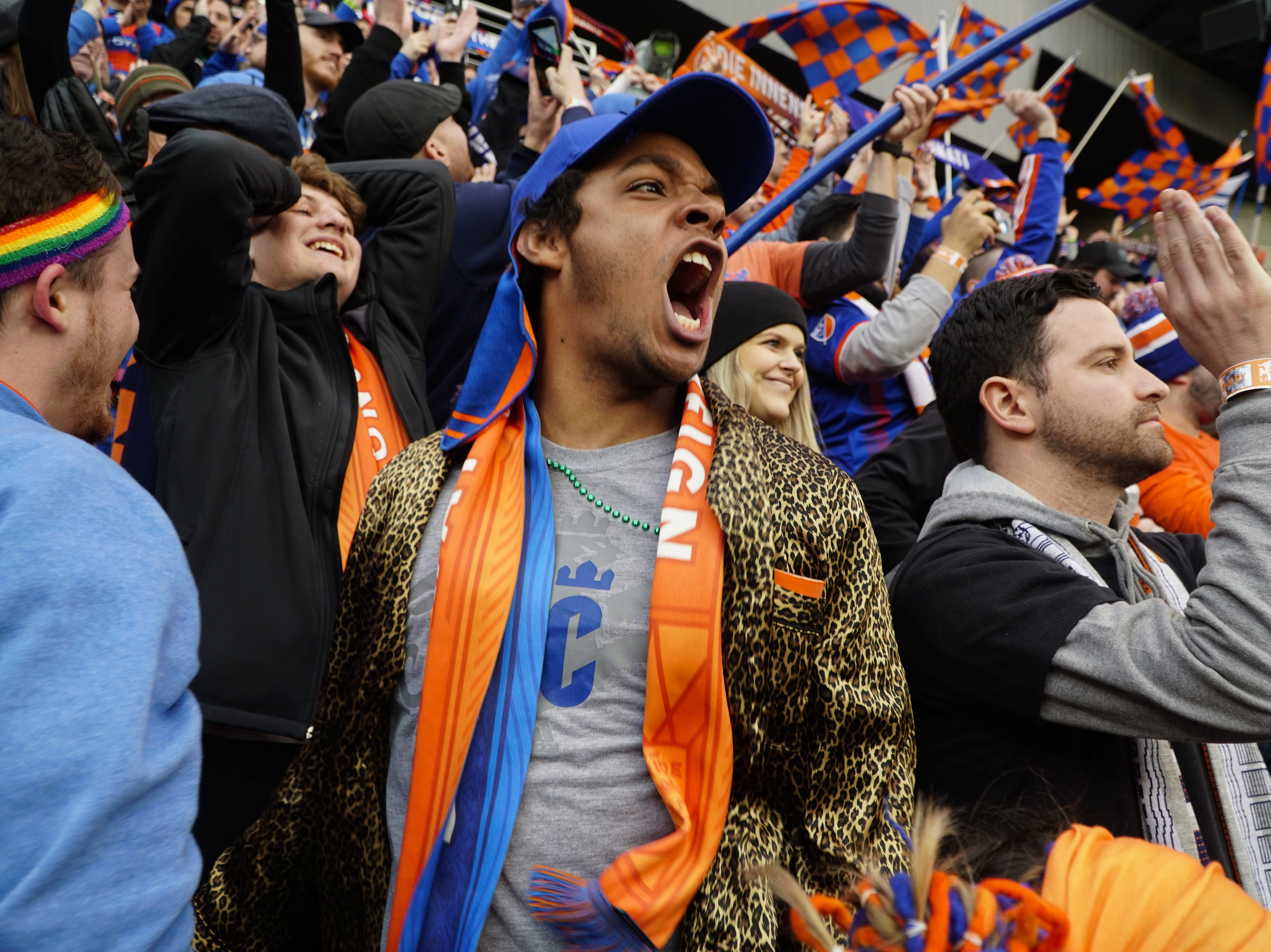 Fans cheered as the FC Cincinnati home opener against Portland wound to close with FCC up 3-0, Nippert Stadium, March 17, 2019.