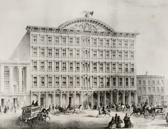 Pike's Opera House, built in 1859, was a world-famous and popular theater until it was destroyed in a fire caused by a gas leak on March 22, 1866. The fire also destroyed the Enquirer offices next door.