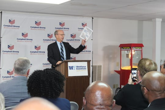 Officials announce the opening of the new American Job Center in Clarksville.