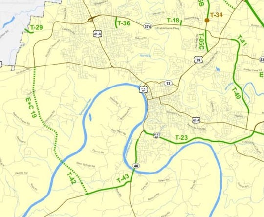 The planned extension of state Highway 374 is shown on the left as a green dotted line, going from Dover Road south to Highway 149