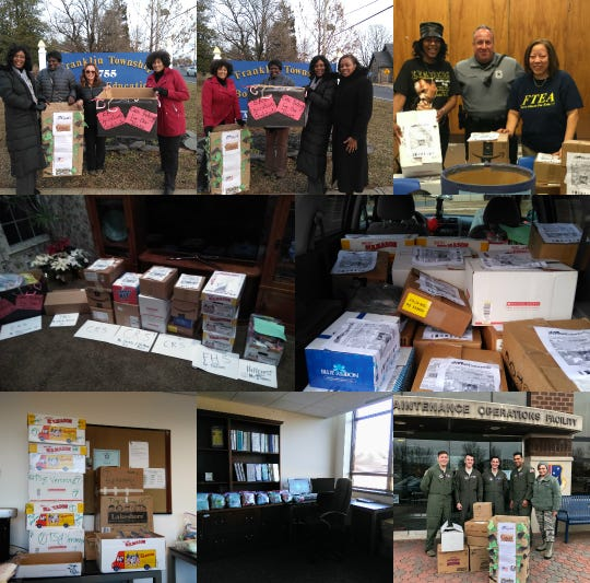 Franklin Township Education Association (FTEA)'s Minority Leadership and Recruitment (MLR) Committee ran an Operation Gratitude, collecting more than 2,500 items which resulted in 205 caring packages. The packages are currently at the Joint Base McGuire-Dix-Lakehurst and awaiting overseas deployment for soldiers. Coordinators for the event were Alexandra Thomas, Dr. Gayle Nelson, Fawnya Gibson, Diane Anderson, Fontella Best, Maxine Robinson and Patricia Veronsky. Pictured is are the MLR Team with Operation Gratitude deliveries.