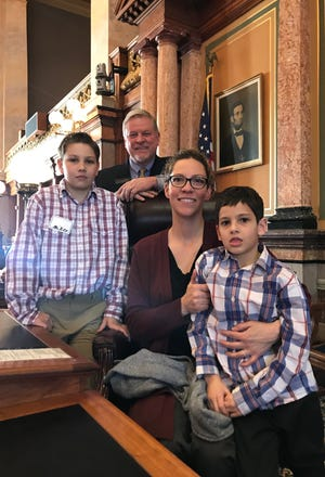 Homeschool Iowa visited the Capitol last week. Coming for a tour from Indianola were Jessica, Mikey and Jac Credidio.