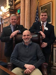 Mark Juffernbruch of Indianola, father of House page Tyler Juffernbruch, came to visit his son and Rep. Scott Ourth in the House chambers this week. Tyler has been a page on the House floor this session and will begin his college education at Yale University in the fall.