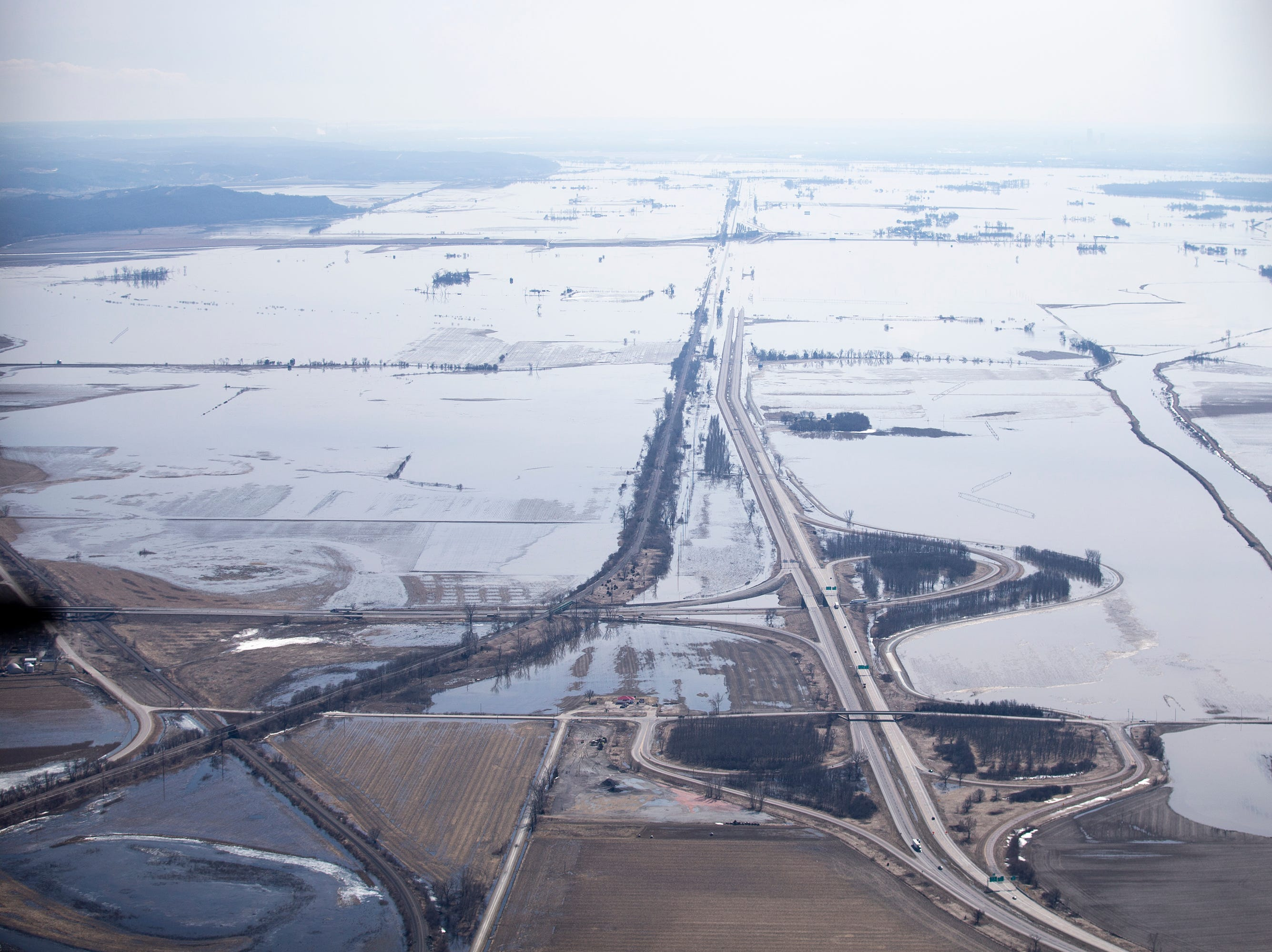 Floodwater from the Missouri River inundates cities and farmland on the western edge of Iowa on Monday, March 18, 2019.
