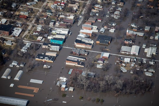 Two thirds of the city of Hamburg is underwater from flooding on the Missouri River on Monday, March 18, 2019, on the western edge of Iowa.