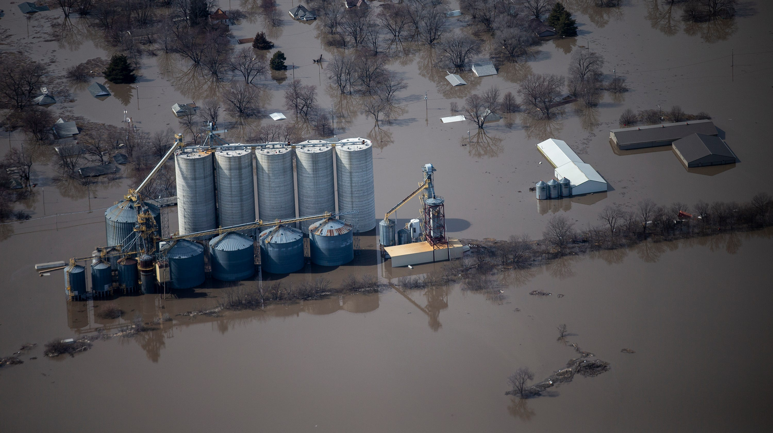 Drone video: Floodwaters continue to inundate southwest Iowa