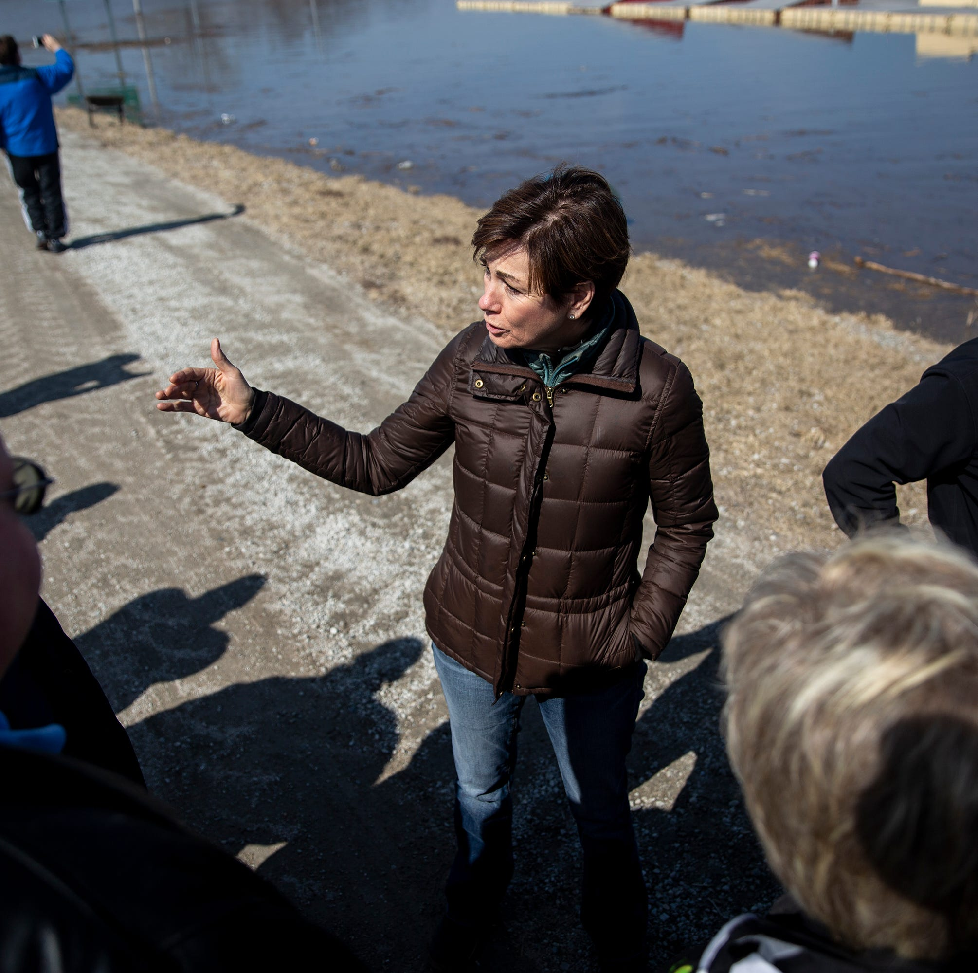 Governor Kim Reynolds tours areas flooded by the Missouri and Platte Rivers on Monday, March 18, 2019, in Mills County.