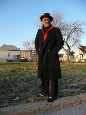 Andre Williams stands on the onetime site of Fortune Records in Detroit.