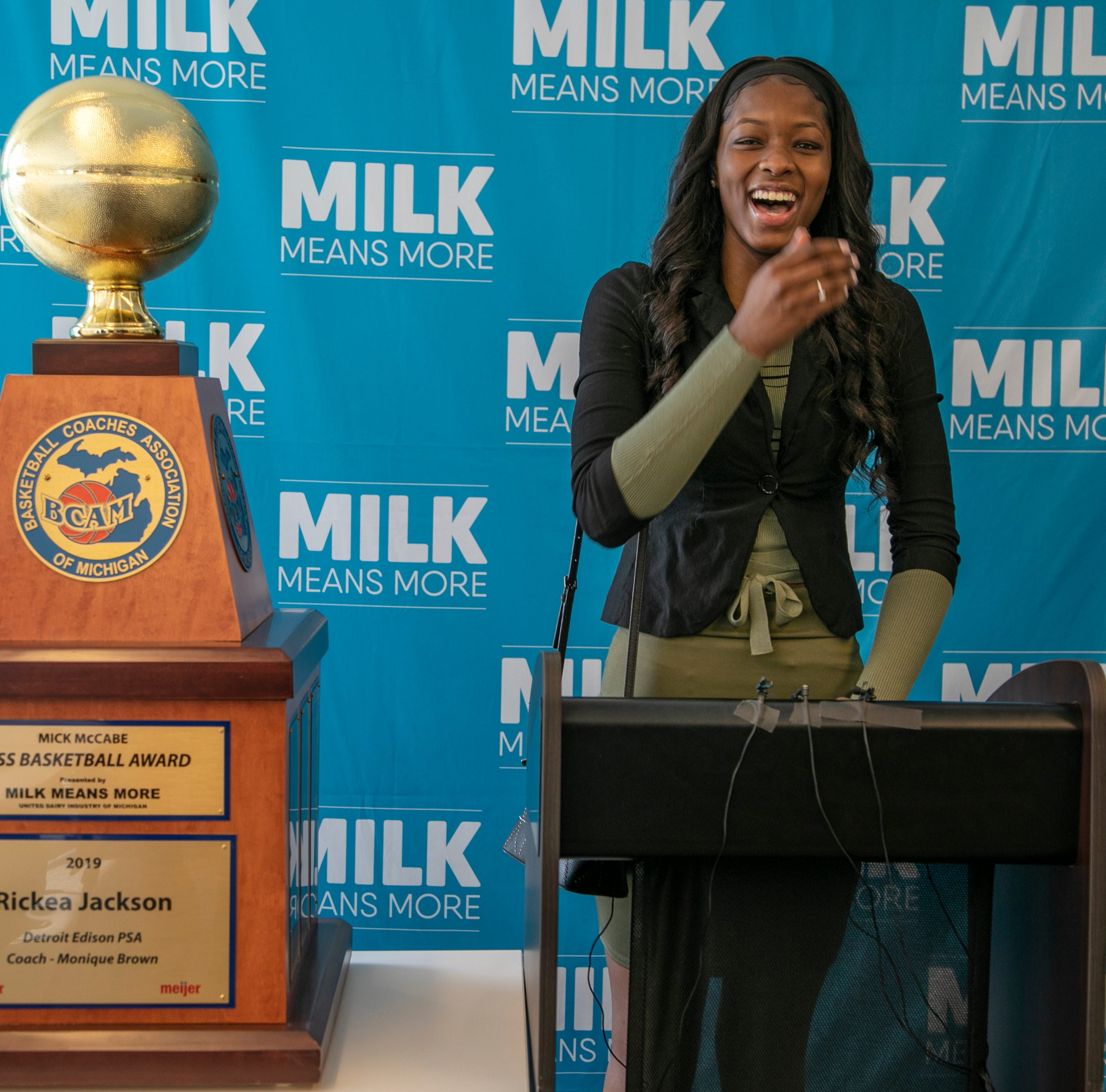 Rickea Jackson from Detroit Edison reacts after her teammates erupt with applause after she was named the 2019 Miss Basketball Monday, March 18, 2019 at the Detroit Free Press.