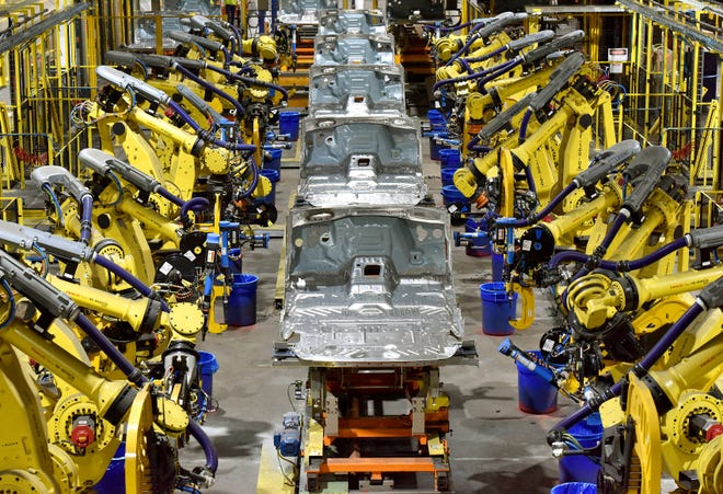 Assembly line production in 2018 at Ford's Kentucky Truck Plant.