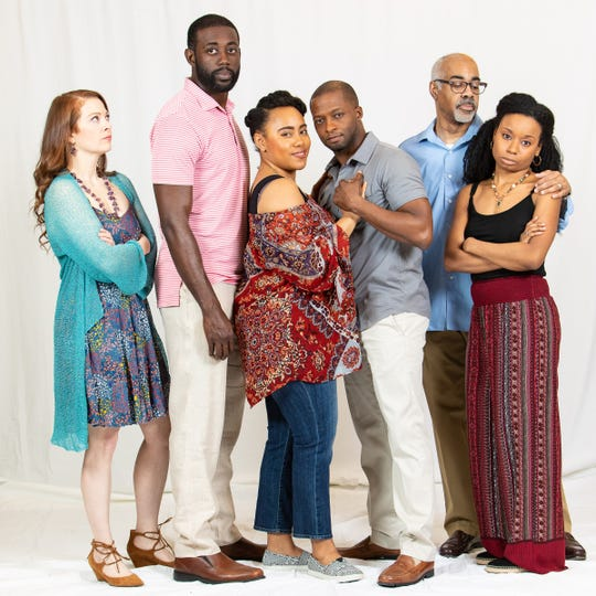 "Dani Cochrane, left, Gary-Kayi Fletcher, Briana Gibson Reeves, Tyrick Wiltez Jones, Lorenzo Scott, and Kendra Holloway star in ""Stick Fly"" at Meadow Brook Theatre."