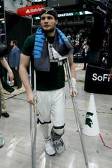 Kyle Ahrens of the Michigan State Spartans walks off the court after the Michigan State Spartans beat the Michigan Wolverines, 65-60, in the championship game of the Big Ten Basketball Tournament at the United Center on March 17, 2019 in Chicago, Illinois.