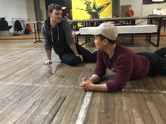 "Peter Scattini and Sam Hamashima rehearse a scene from Detroit Public Theatre's ""Girlfriend."""