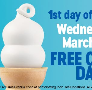 Today, March 20, is Free Cone Day at Dairy Queen