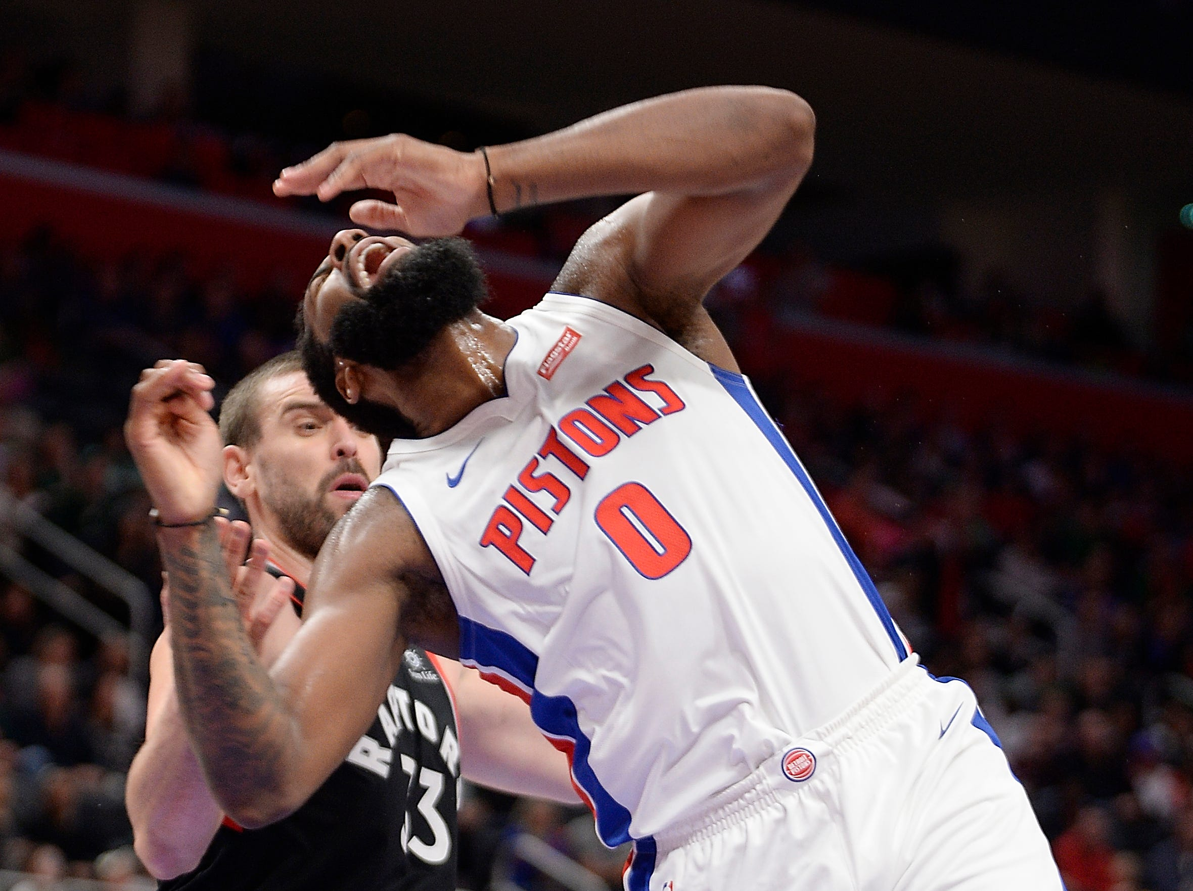 Pistons' Andre Drummond he fouled by Raptors' Marc Gasol in the fourth quarter.