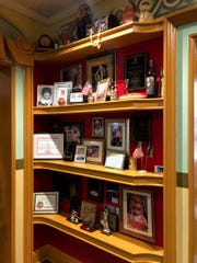 A shelf of awards and other accolades near the entrance of Pasquale's in Royal Oak, which will close next month after 65 years of business.