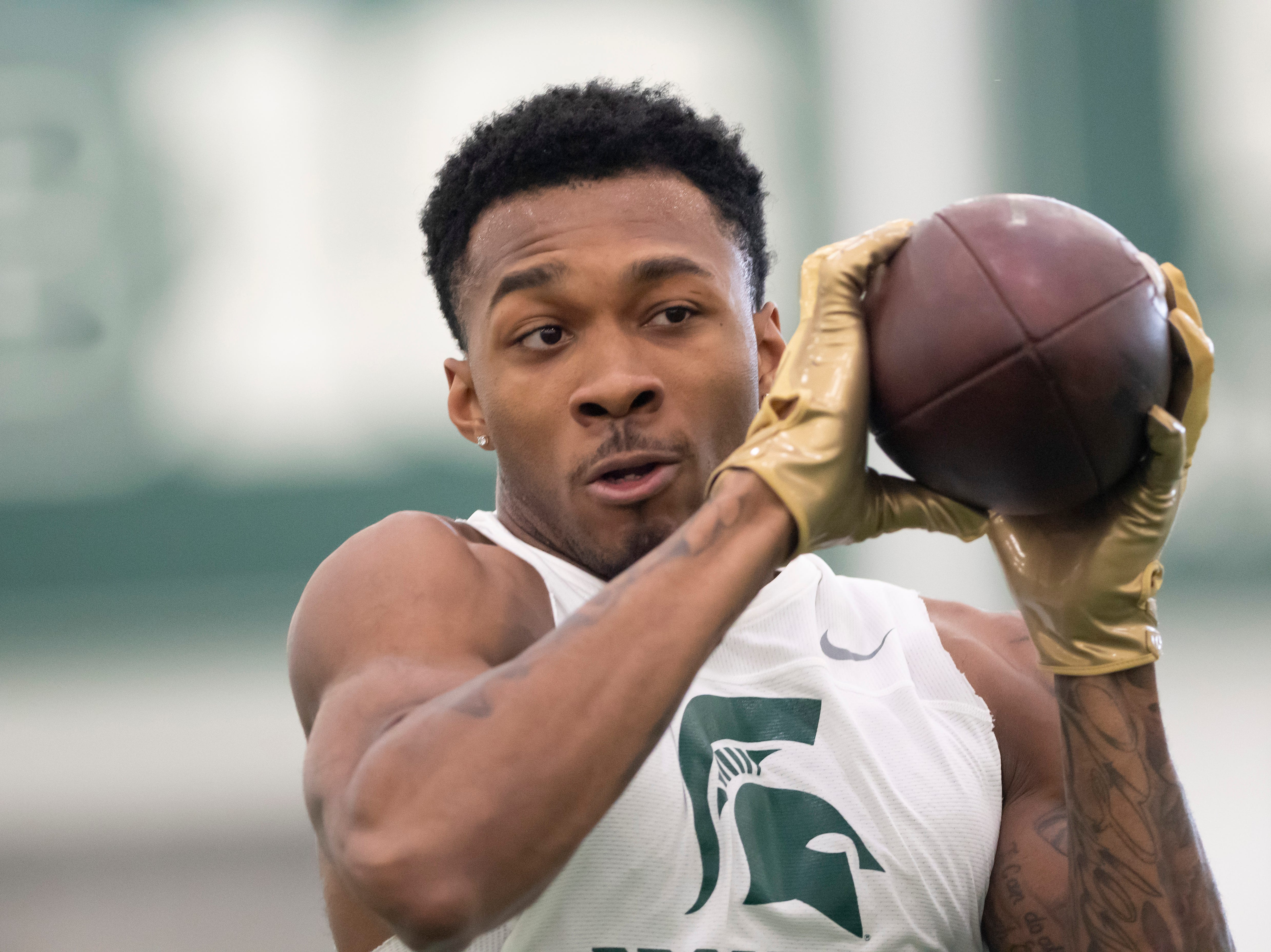 Michigan State cornerback Justin Layne catches a pass during an NFL pro day.