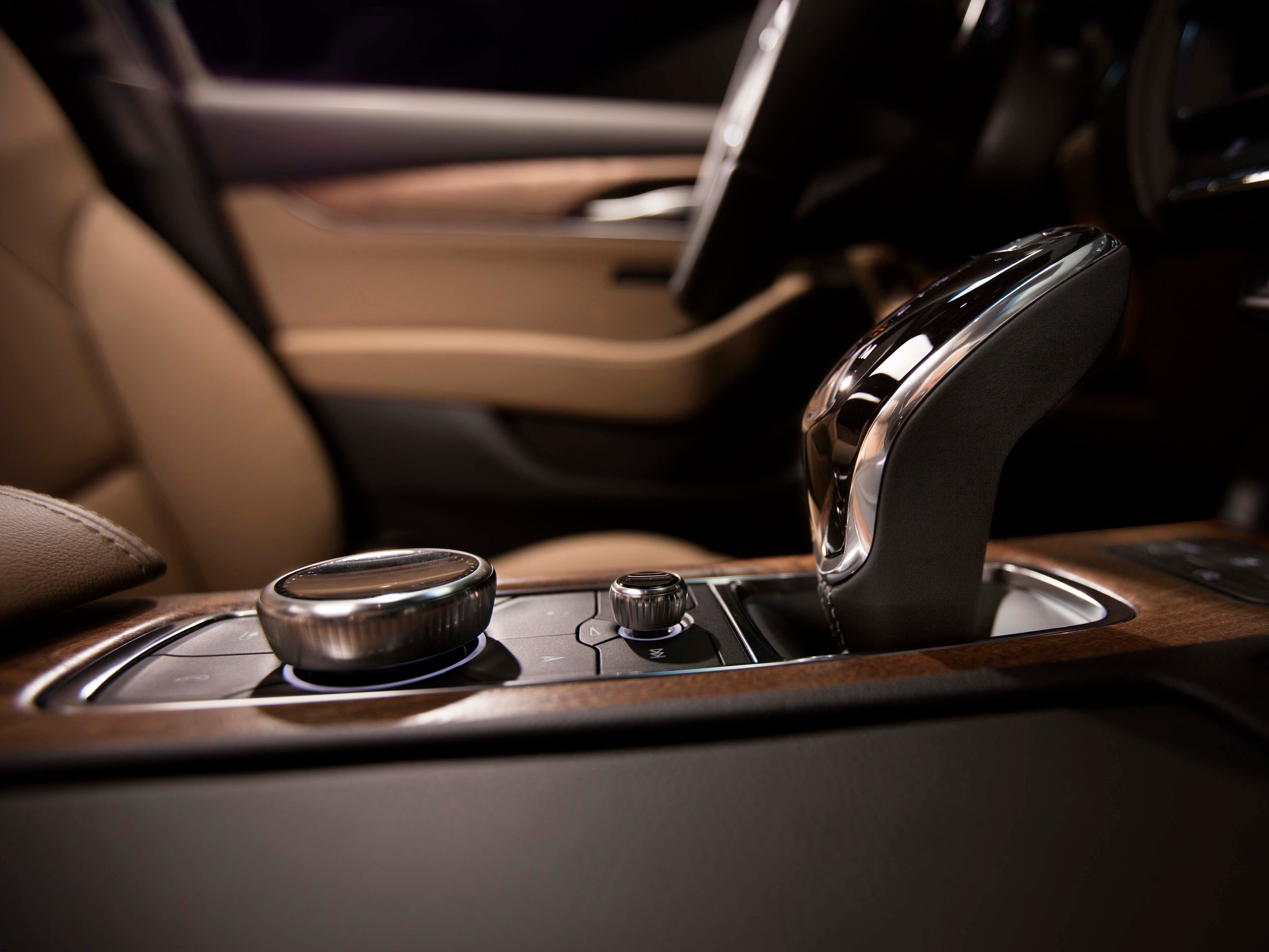 The 2020 Cadillac CT5 features a center-console rotary dial to control the infotainment system. The screen also responds to touch commands.