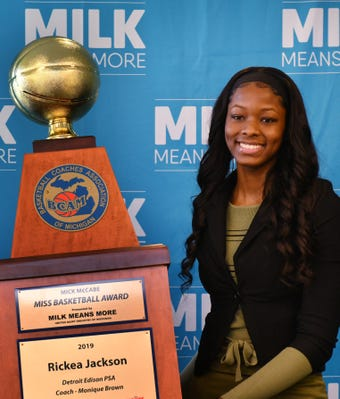 Detroit Edison's Rickea Jackson accepts the 2019 Michigan Miss Basketball award at a press conference in Detroit.