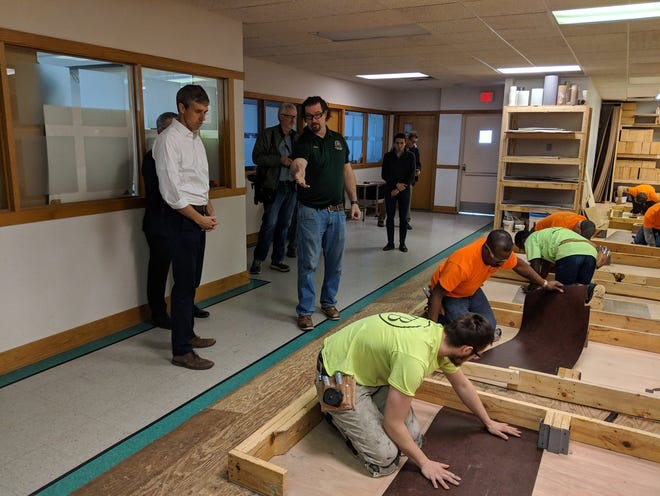 Democratic presidential candidate Beto O'Rourke meets with workers/students at the carpenters training center in Ferndale, a joint operation between contractors and unions.