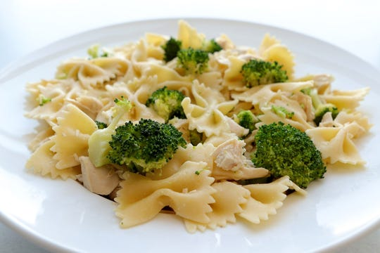 Bow-tie pasta with broccoli, chicken breast and parmesan cheese, Thursday, Feb. 14, 2019. (Hillary Levin/St. Louis Post-Dispatch/TNS)