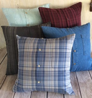 Jessica DeJager of Stitched in Prayer makes pillows, quilts and teddy bears from loved ones' clothing.