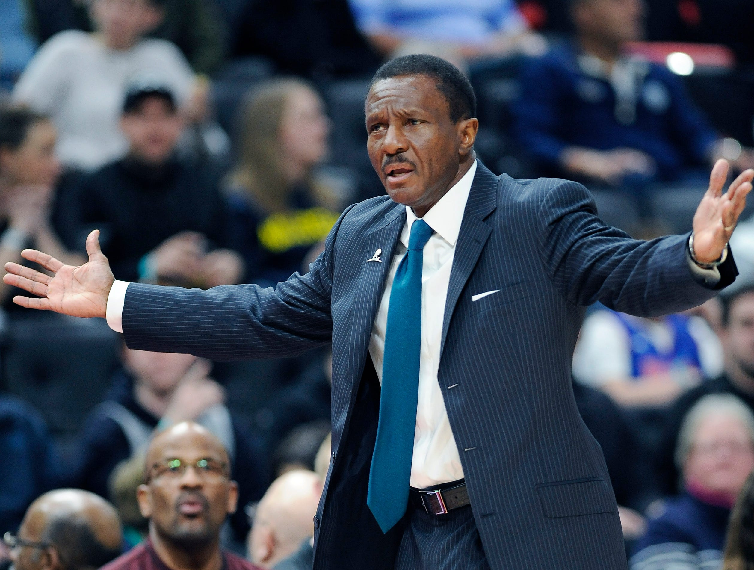 Pistons head coach Dwane Casey complaints about a non-call foul on Andre Drummond in the second quarter.