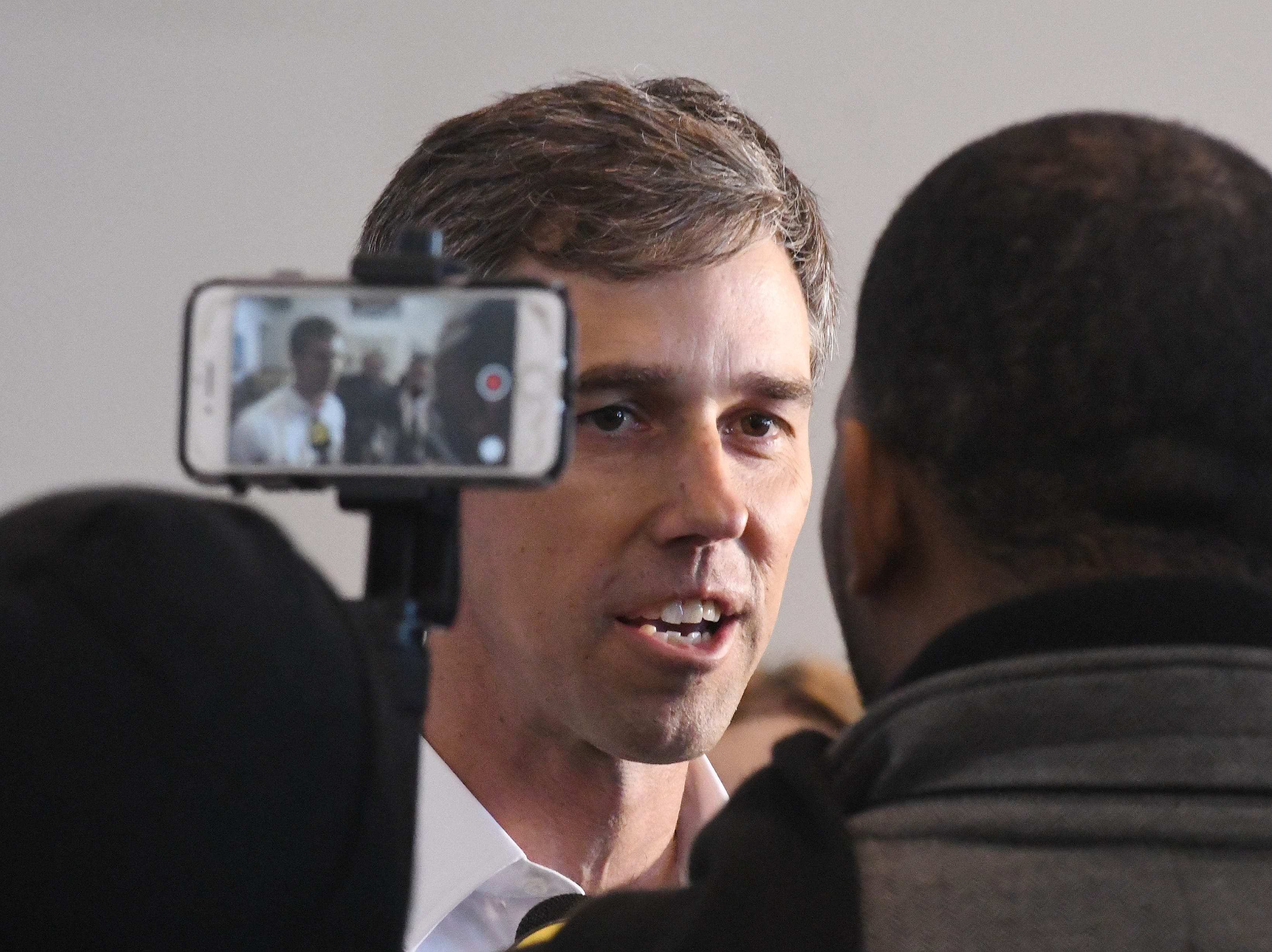 Democratic U.S. presidential candidate Beto O'Rourke answers questions form media after a visit to the Detroit Carpenters Training Center.