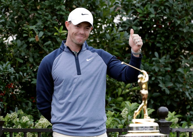 Rory McIlroygives a thumbs-up Sunday after winning The Players Championship golf tournament in Ponte Vedra Beach, Fla.