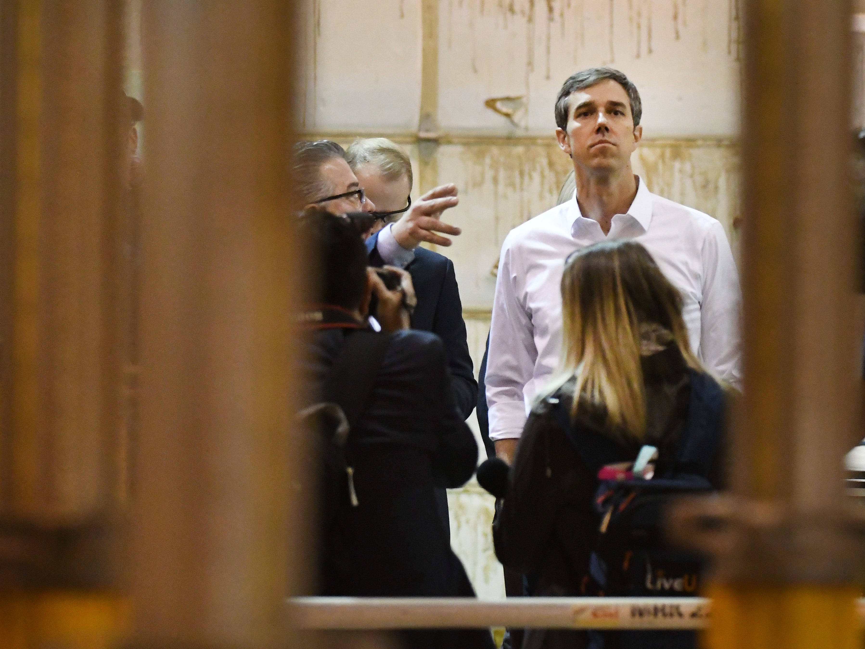 Democratic U.S. presidential candidate Beto O'Rourke gets a tour of the Detroit Carpenters Training Center.