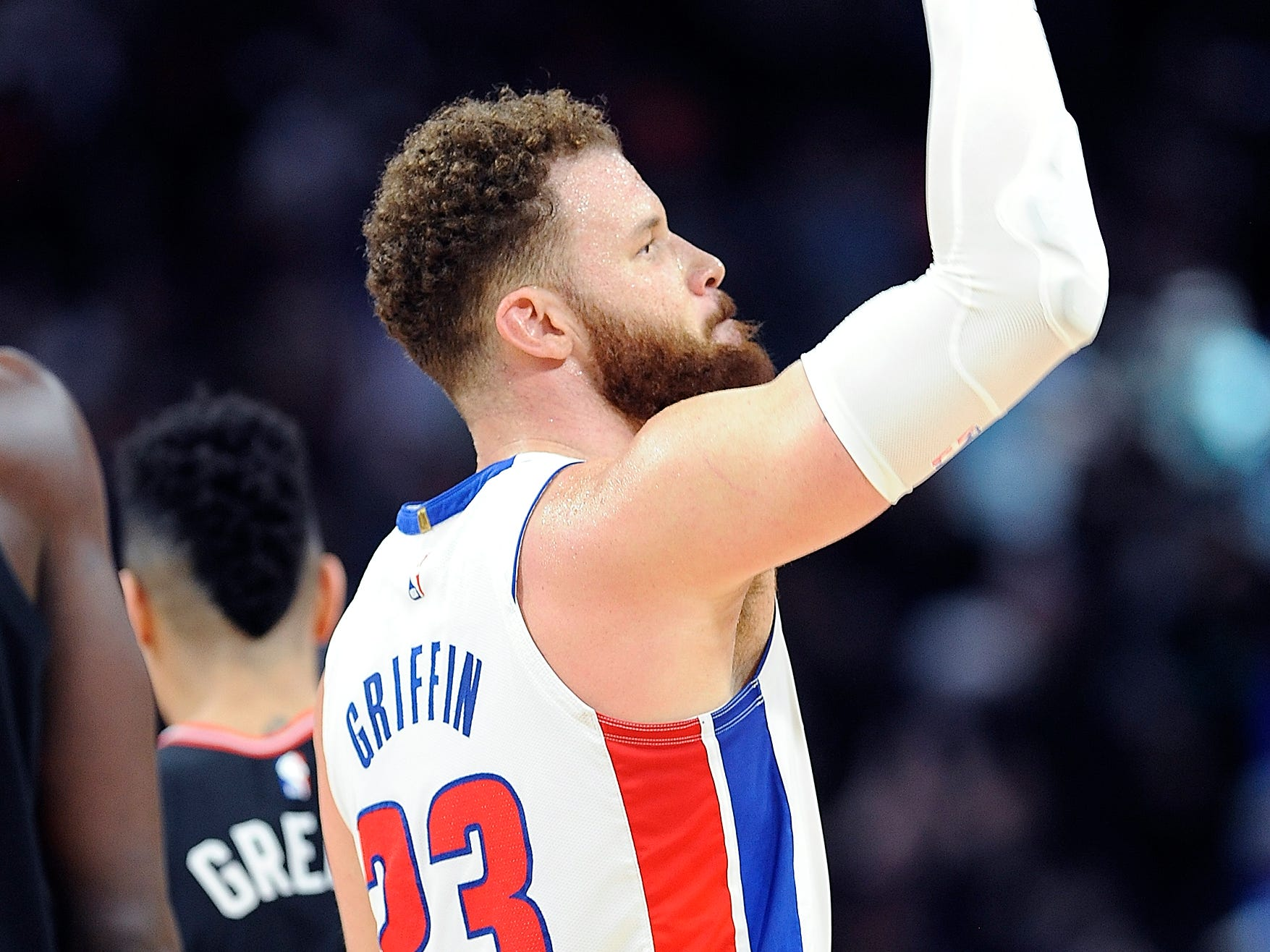 Pistons' Blake Griffin pumps up the crowd in the fourth quarter.