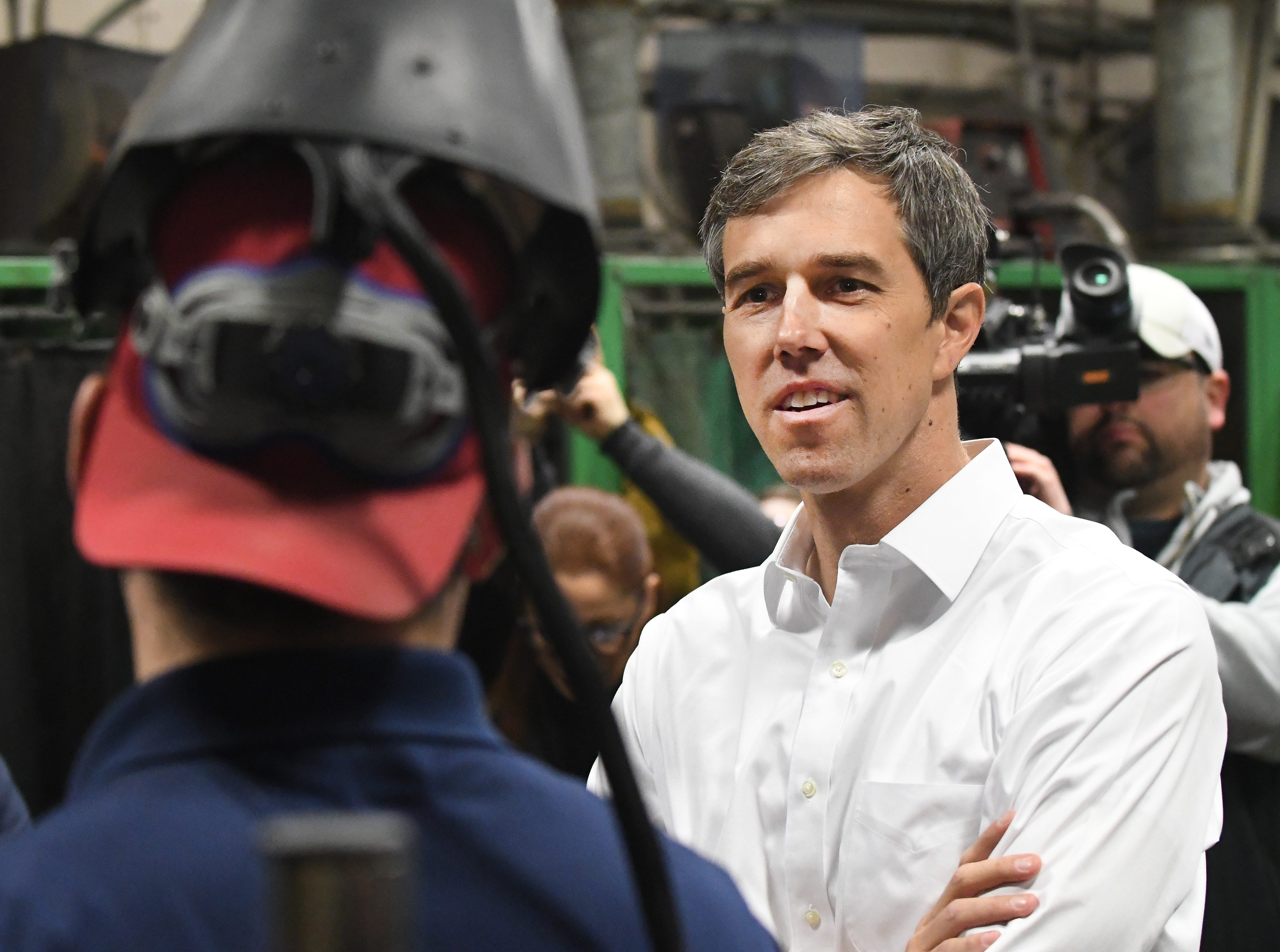 Democratic U.S. presidential candidate Beto O'Rourke during a tour of the Detroit Carpenters Training Center.