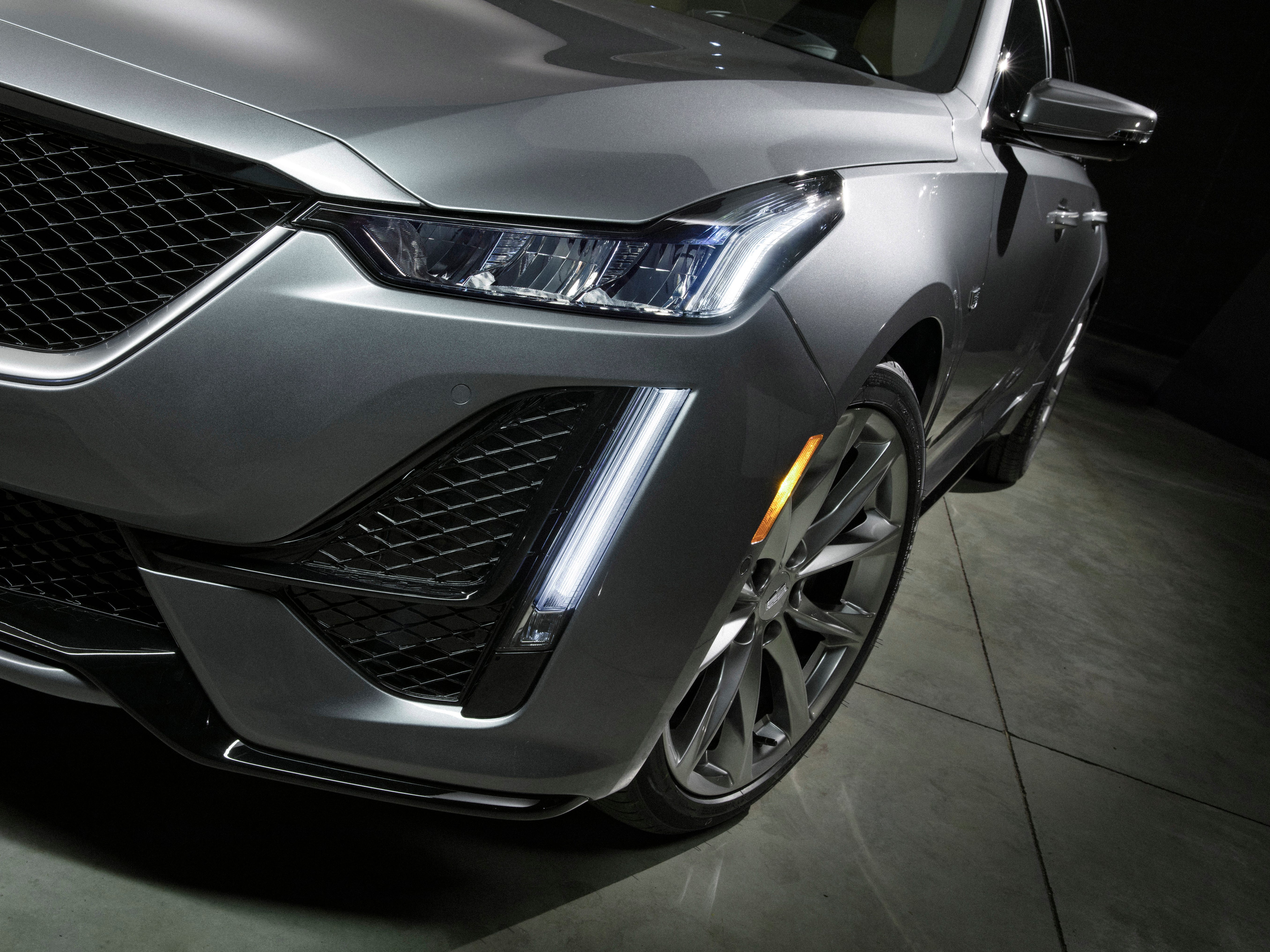 The 2020 Cadillac CT5 is evolved from the CTS sedan which ran three generations before the name change to CT5. The CTS's distinct, vertical LED light signature will carry over to the CT5.