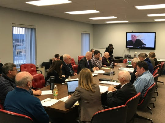 Chairman of the Chemung County Legislature David Manchester joined the meeting via video call from Barbados.