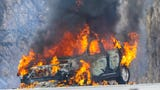 Car engulfed in flames on Interstate 41. Oakfield Fire Department was called to the scene.
