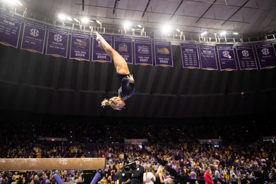 LSU sophomore Bridget Dean, a Fort Myers native, suffered an unknown back injury before starting at the Baton Rouge, Louisiana school. She took a year off before enrolling and spent her freshman season on the sideline before cracking the lineup this season. She'll compete at the SEC Gymnastics Championships this weekend in New Orleans.