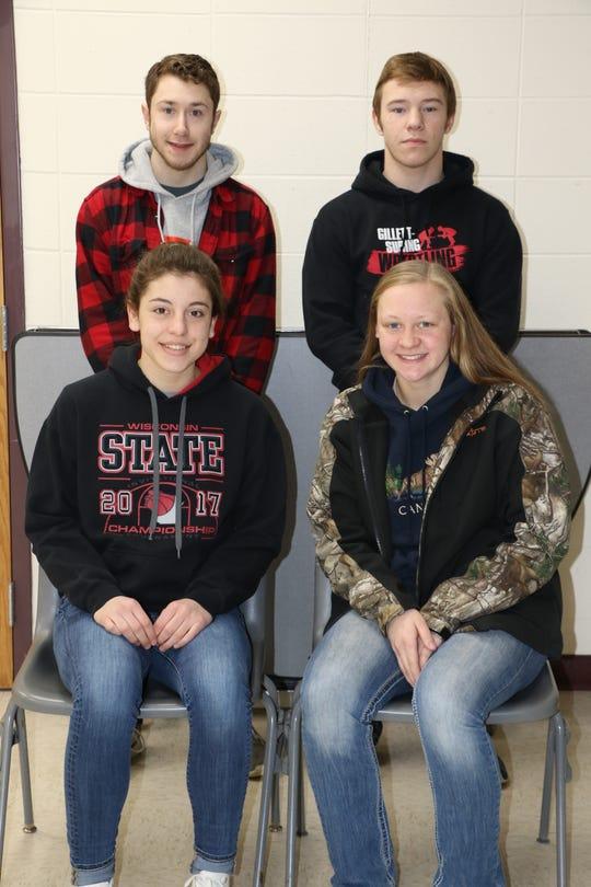 Gillett High School athletes, from left, back row Logan Krause and Sam Lemens; front row Aubrey DeBauch and Karissa Schaal.