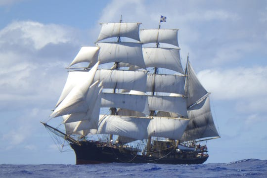 The three-masted Picton Castle is one of the tall ships headed to Green Bay.
