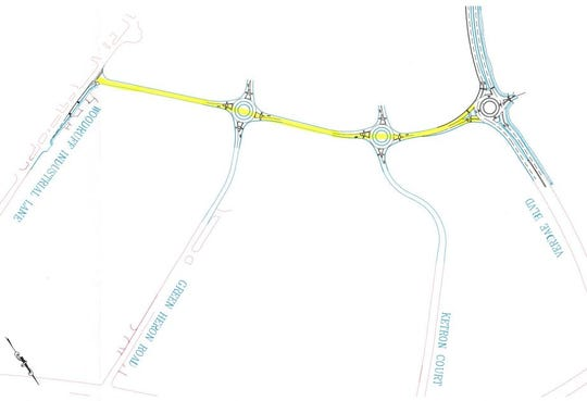 A map of how three dead-end streets will be connected via traffic circles to create a Woodruff Road bypass to Verdae Boulevard.