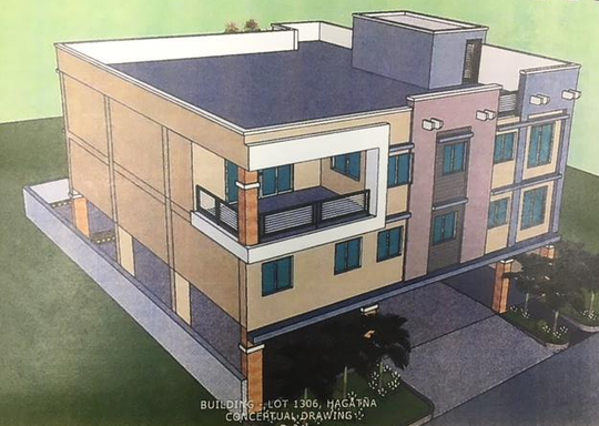 A conceptual drawing of a proposed new office building next to the Guam Law Library, in Hagåtña.