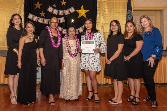 The Soroptimist International of the Marianas held its Charter Night on February 9 together with the Cristeta Villacorta Alegria Foundation. The Soroptimist Violet Richardson Award is a recognition program for young women ages 14–18 engaged in volunteer action within their communities or schools.  The award is given to young women whose activities make the community and world a better place. From left:  Treasurer Elect Fabrienne Reyes, IPP Carmela Rapadas, President Jessica Castro, Cristeta Villacorta Alegria, Darlene Dizon, Treasurer Esther Reyes, Secretary Angie Gibbons, Vice President Deane Jessee-Jones.