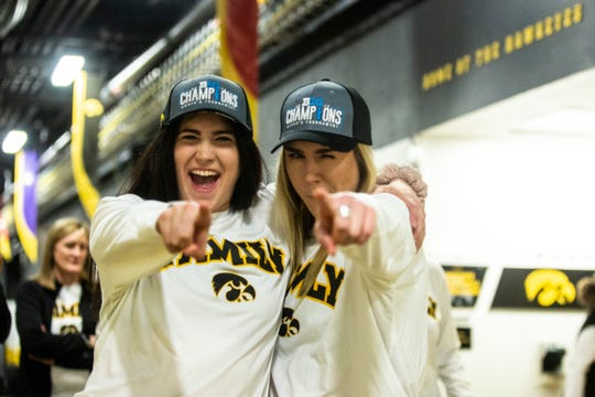 Iowa center Megan Gustafson, left, and Iowa forward Hannah Stewart pose for a photo before the Hawkeyes women's basketball team hosts a Big Ten Tournament title celebration, following the NCAA selection show, on Monday, March 18, 2019, at Carver-Hawkeye Arena in Iowa City, Iowa.