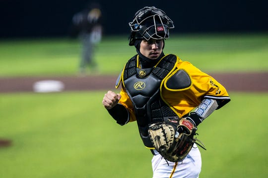 Iowa catcher Austin Martin (34) jogs out to home plate during a NCAA non conference baseball game on Sunday, March 17, 2019, at Duane Banks Field in Iowa City, Iowa.