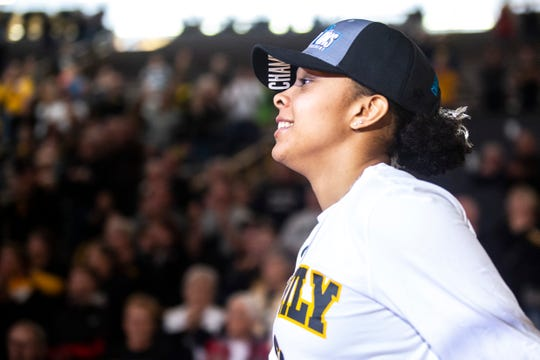 Iowa guard Tania Davis smiles while the Hawkeyes women's basketball team hosts a Big Ten Tournament title celebration, following the NCAA selection show, on Monday, March 18, 2019, at Carver-Hawkeye Arena in Iowa City, Iowa.